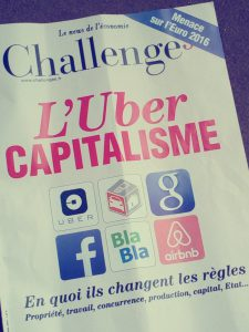 Une de Challengesl Uber capitalisme, Sujet de l'article de blog Uber moto
